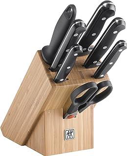 ZWILLING Bloc de Couteaux, 8 Pièces, Bloc en Bambou, Couteaux & Ciseaux en Acier Inoxydable Spécial/Manche Plastique, Twin...