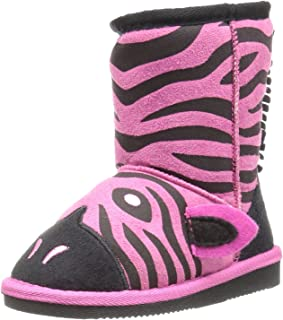 MUK LUKS Kids' Animal Fuschia Zebra Pull-On Boot