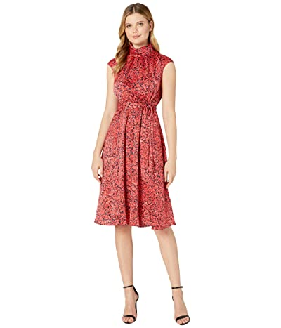 Maggy London Pretty Petal Printed Charmeuse Fit-and-Flare (Black/Coral) Women