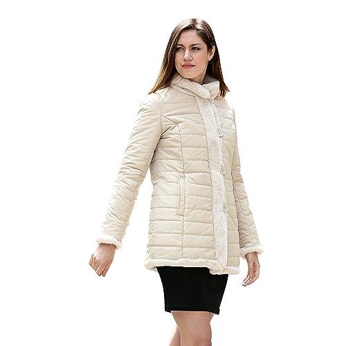 Adelaqueen Práctica y elegante chaqueta corta reversible de piel sintética para mujer