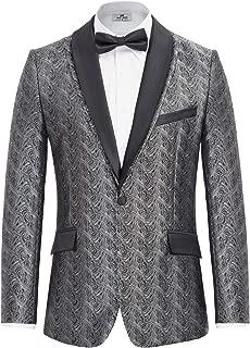Men's Stylish Jacquard Floral Suit Detachable Collar Blazer Coat