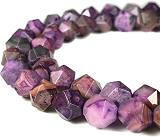 [ABCgems] Mexican Purple Crazy Lace Agate 8mm Precision-Star-Cut Beads for Beading & Jewlery Making