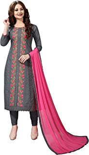 Nivah Fashion Women's Cotton Embroidery Unstitched Salwar Suit Dress Material