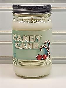 Candy Cane Candle All Natural Premium Soy Wax Christmas Candle Mason Jar (16oz Mason)
