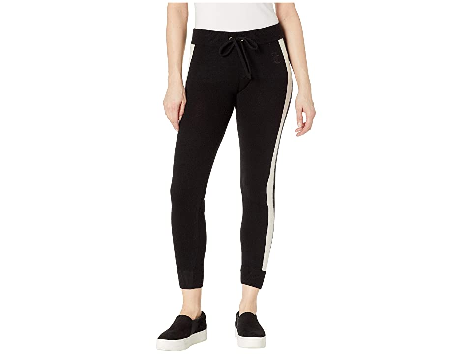 Juicy Couture Sweater Cashmere Color Block Pants (Pitch Black) Women