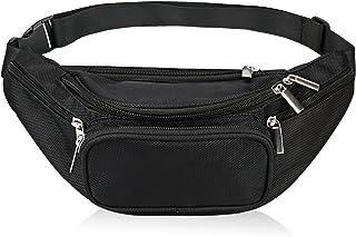 Fanny Pack 5-Zipper Pockets Nylon Waist Bag for Women Men Trainer for Yoga Gym