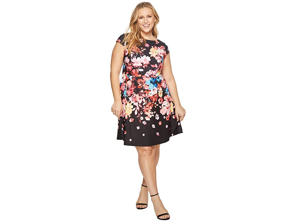 Adrianna Papell Plus Size Spring In Bloom Printed Fit and Flare (Black Multi) Women