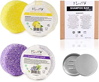 DLuxSpa Eco-Friendly Shampoo Bar for Hair Travle Gift Set - Essentials Kit Travel Sized - 3-Packs Set - Lemon and Lavender...