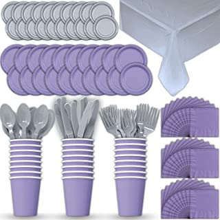 Paper Tableware Set for 24 - Lavender & Silver - Dinner and Dessert Plates, Cups, Napkins, Cutlery (Spoons, Forks, Knives), and Tablecloths - Full Two-Tone Party Supplies Pack