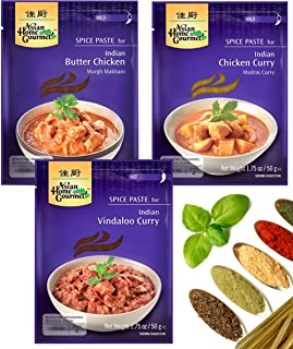 Asian Home Gourmet Indian Spice Paste Variety, Indian Butter Chicken, Indian Chicken Curry, Indian Vindaloo Curry, 1.75 oz, 3 packs