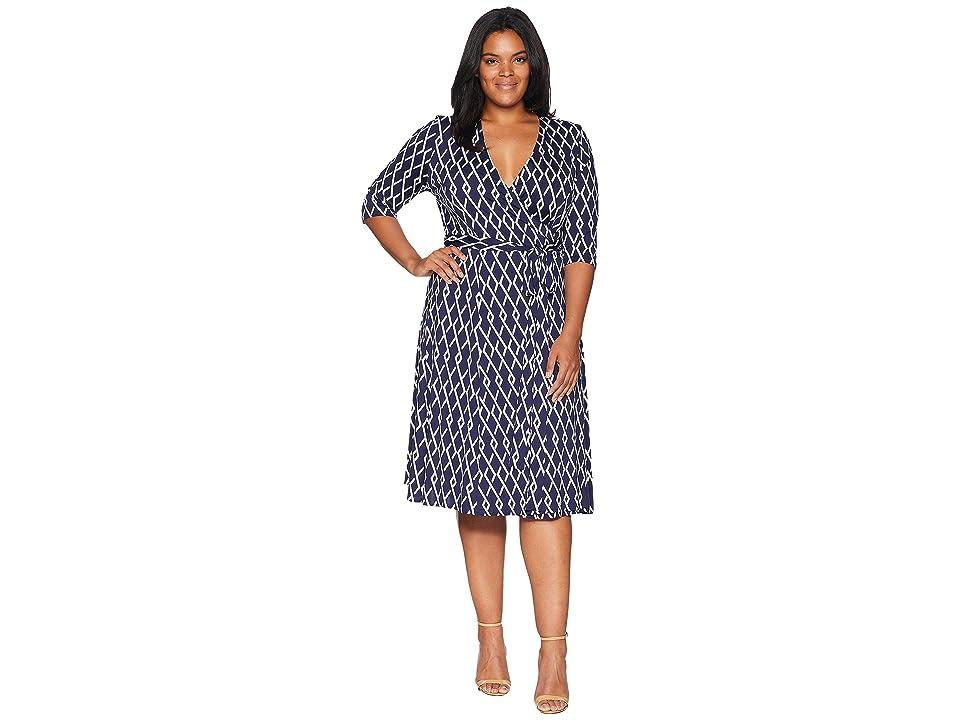 Kiyonna Essential Wrap Dress (Navy Geo) Women