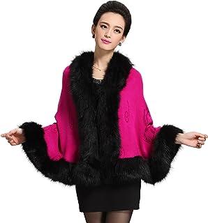 967c2a0720e Caracilia Women Luxury Bridal Faux Fur Shawl Wraps Cloak Coat Sweater Cape
