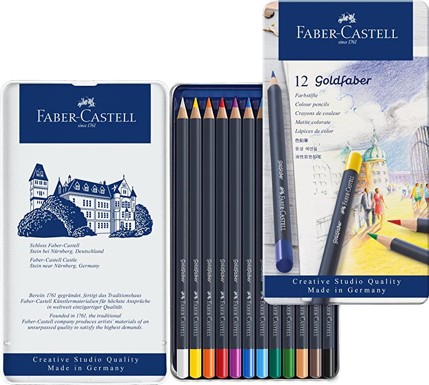 Faber Castell Creative Studio Goldfaber Wood Cased Color Pencils - Tin of 12 Colors