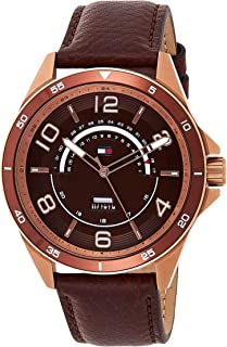 Tommy Hilfiger Men's CASUAL SPORT Gold Quartz Watch with Leather Strap, Brown, 22 (Model: 1791392)