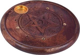 diollo Mango Wooden Pentacle Incense Burner Holder, Incense Cones and Sticks Pentagram, 4 Inch