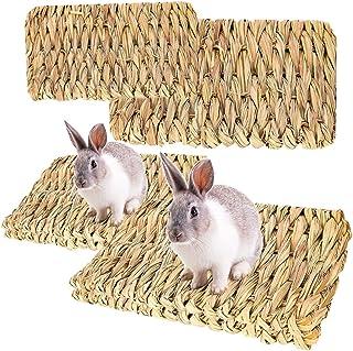 RoadLoo Zwierzę łóżka do żucia, 4 sztuki naturalne tkane maty z trawy ręcznie tkane bezpieczne jadalne króliczek pościel g...