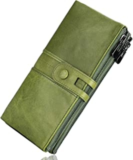 Genuine Leather Women's Wallets,Multi-function Slim Bifold Clutch Purse,Large Capacity with RFID (Green)
