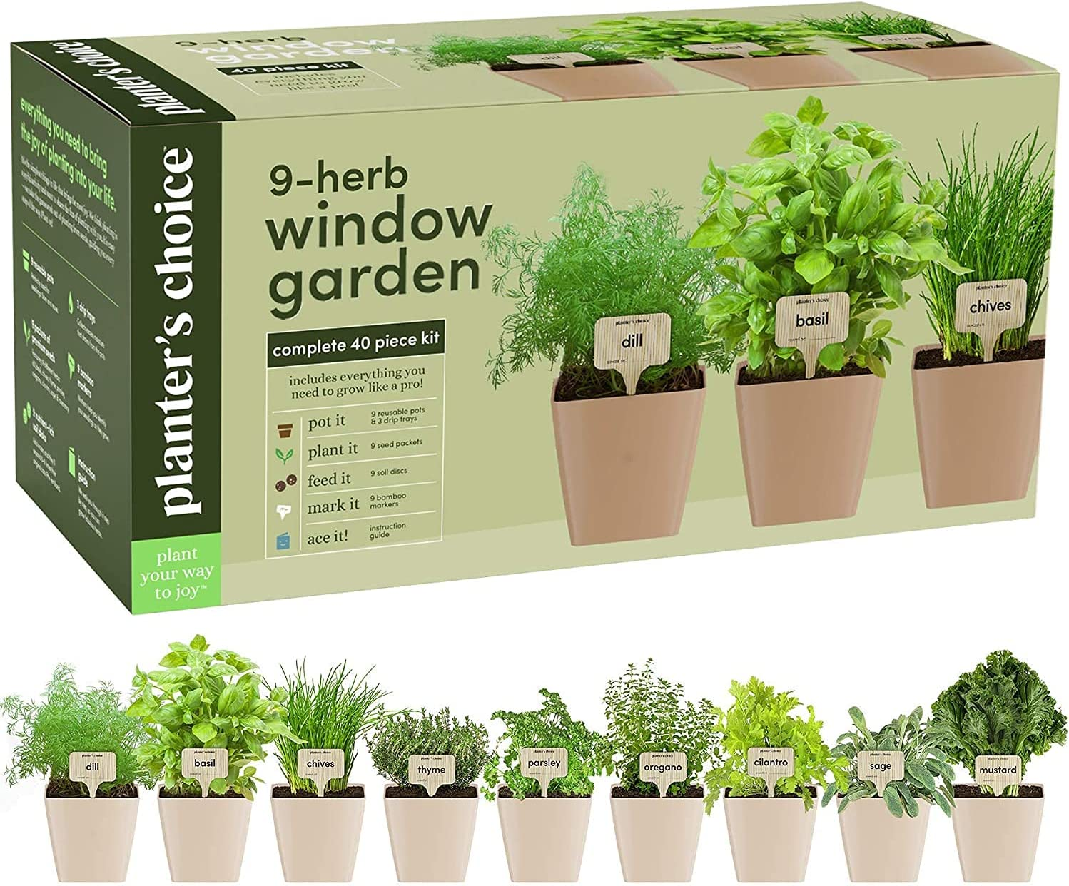 Amazon Com 9 Herb Window Garden Indoor Herb Growing Kit Kitchen Windowsill Starter Kit Easily Grow 9 Herbs Plants From Scratch With Comprehensive Guide Unique Gardening Gifts For