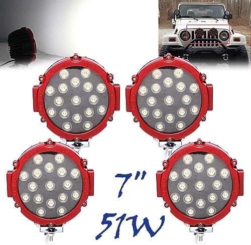 2021 4Pcs sale 7 Inch 51W LED Work Light Bar Red Round Spot Light Pods Off Road Driving Lights Fog Bumper Roof Lamp for Boat Jeep SUV Truck 12V lowest 24V online