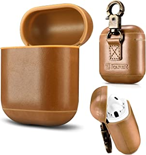 AirPods 手机壳真皮全防护防震保护套便携带钥匙扣适用于 Apple AirPods 充电盒AP003GG 棕色