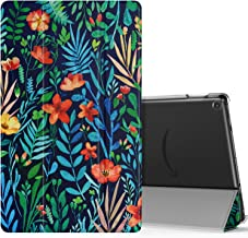 MoKo Case Fits All-New Fire HD 10 (7th Generation and 9th Generation, 2017 and 2019 Release), Smart Shell Stand Cover with Translucent Frosted Back for Fire HD 10.1 Inch - Jungle Night