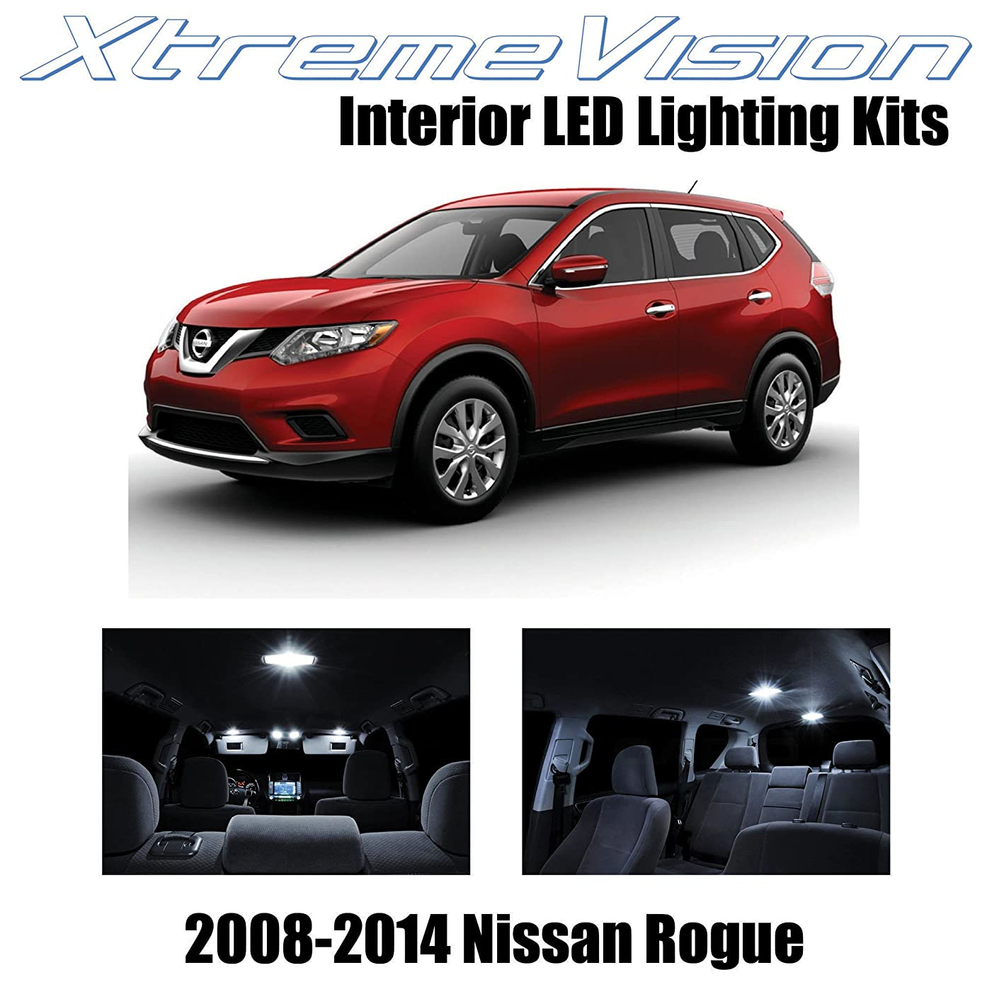 XtremeVision Interior LED for Nissan Rogue 2008-2014 (12 Pieces) Pure White Interior LED Kit + Installation Tool