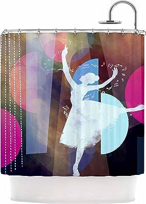 Green Purple Shower Curtain 69 by 70 Kess InHouse Alyzen Moonshadow Silhouette Dark