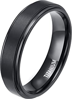 TIGRADE 4mm 6mm 8mm 10mm Black Titanium Rings Wedding Band Matte Comfort Fit for Men Women