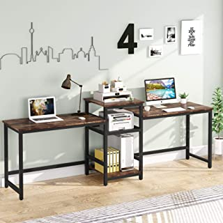 """Tribesigns 96.9"""" Double Computer Desk with Printer Shelf, Extra Long Two Person Desk Workstation..."""