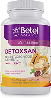 Detoxsan Capsules Total Detox Cleanse by Betel Natural - Healthy Liver and Colon - 1000 mg per Serving