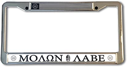 Proud Store Online MOLON LABE Domed Steel License Plate Frame -US Size- Treeper Army Marines 3% MOLON LABE, three percenter, 2nd amendment, monochrome