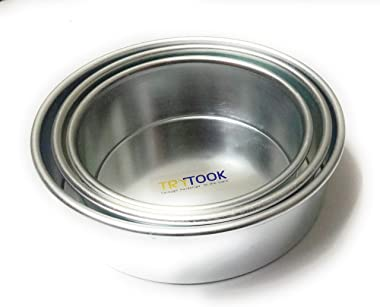 TRYTOOK 5 inch, 6 inch and 7 inch Super Saver Combo (Set of 3 pcs) Aluminum Round Cake Sponge Baking Mould's for Oven &am