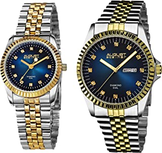 AS8201 His and Hers Watch Set - Two Matching Men's and Women's Watches - Stainless Steel Link Bracelet Bands, Gift Box