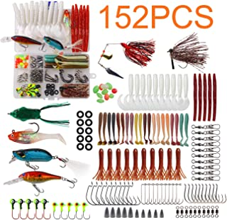 JSHANMEI Fishing Lures Tackle Kit - 152pcs Bass Fishing Gear Tackle Box Included Crankbait Lures Spinner Baits Jigs Swimbait Topwater Frog Soft Worm Lure Fish Hooks Bait Fishing Equipment