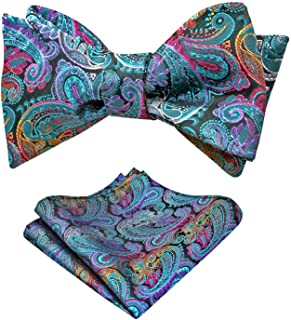 Alizeal Mens Paisley Jacquard Untied Bow Tie Pocket Square Set