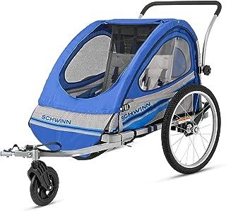 Pacific Cycle Schwinn Trailblazer Double Bicycle Trailer,Blue/Gray (Renewed)