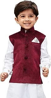 JBN Creation Boys' Maroon Velvet Modi Nehru Jacket(VASBJMA014)