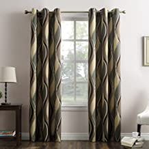 "No. 918 Intersect Wave Print Casual Textured Curtain Panel, 48"" x 63"", Spruce Green"