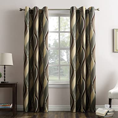 No. 918 Intersect Wave Print Casual Textured Curtain Panel, Spruce, 48  x 84
