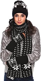 Zeagoo Women Warm Knitted Shawl Wrap Neck Stole Long Scarf Hat Gloves Set