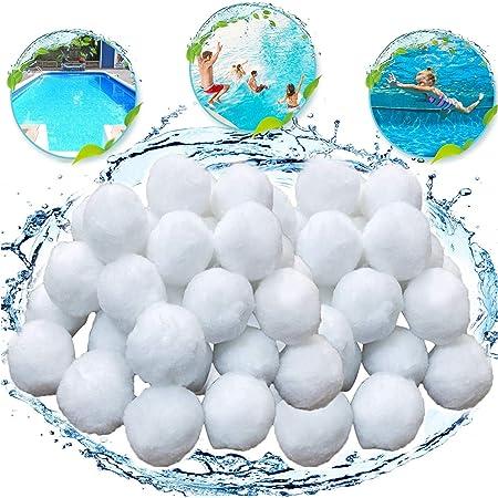 KATELUO 700g Boules de Filtre de Piscine, Balles Filtrantes,Média Filtre à Fibres pour Piscine Filtres à Sable Filtrage de l'eau. (Blanc)