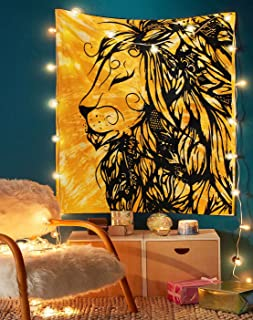 Solid Lion Tapestry - Indian Handmade Tie Dye Wall Hanging Tapestries Great Room Decoration Art Beach Throw Special College Dorm Window Door Curtain Tablecloth Yoga Mat - 50x60 Inches