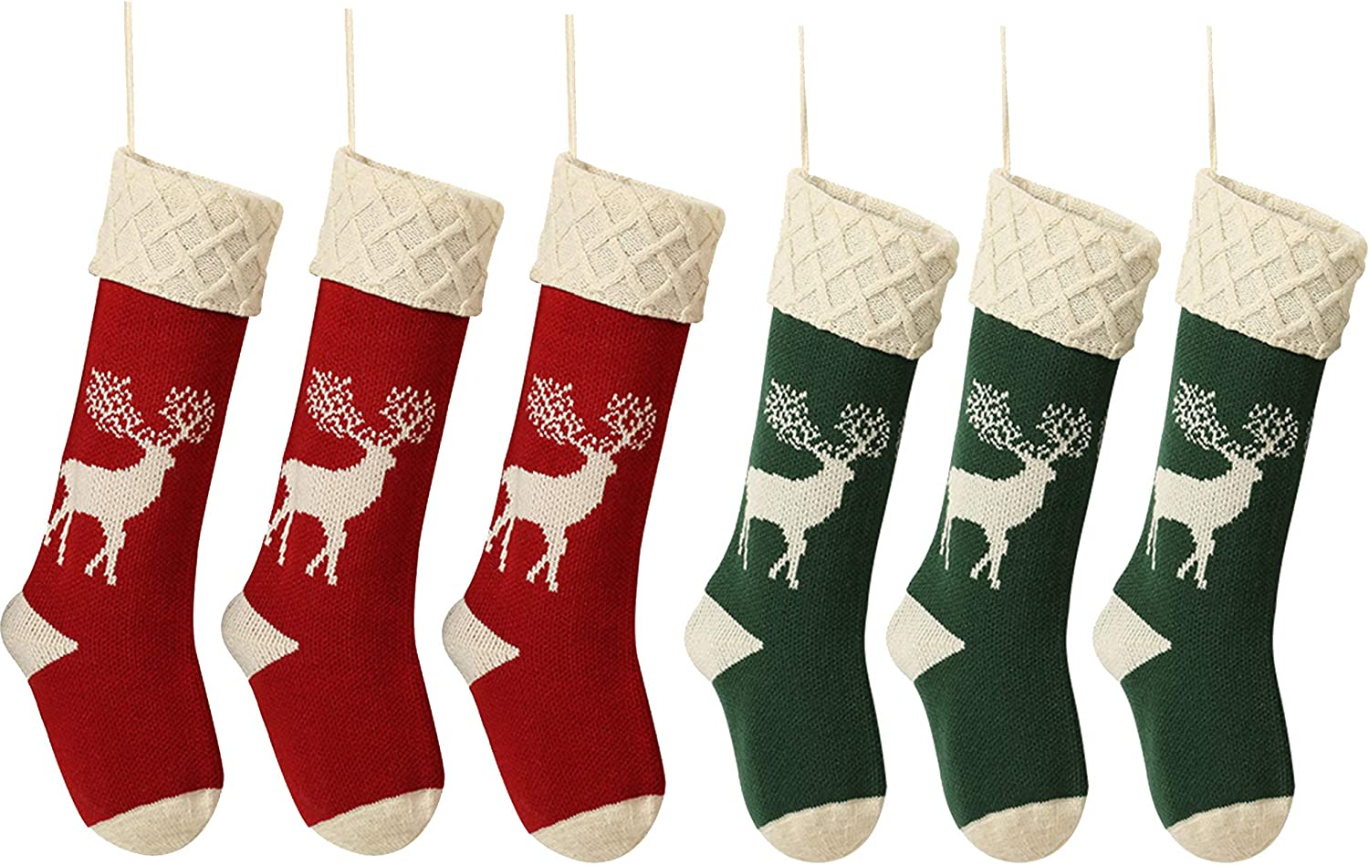 QIMENG Reindeer Houston Mall Christmas Stockings 2021 model Red and Green 6 Lar Pack 18