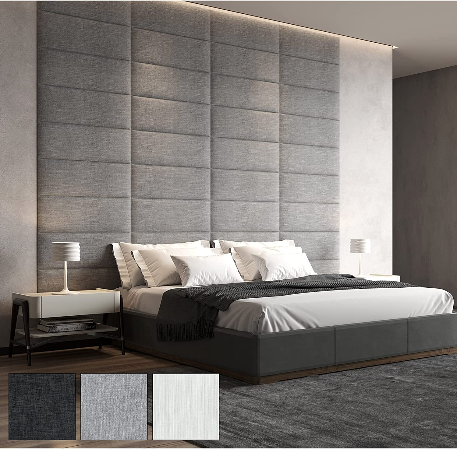 Art3d Removable Wall Mounted Headboard-Sized 39.4x11.8inches Pack of 8pcs-for Twin/King/Queen/Full-Gray-Upholstered Headboards-Accent Wall Panels
