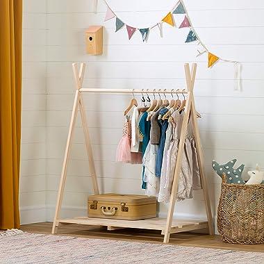 South Shore Sweedi Scandinavian Clothes Rack for Kids-Natural Pine