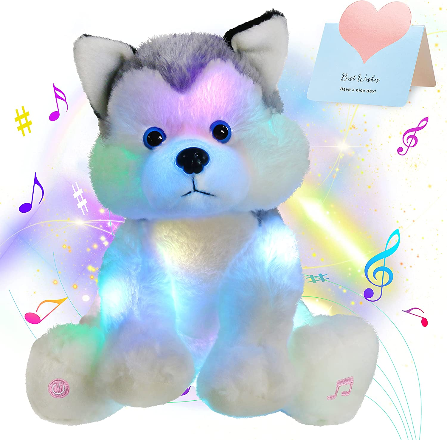 Houwsbaby Light Up Musical Stuffed Glowing LED Husky Dog Singing New Shipping Super beauty product restock quality top! Free