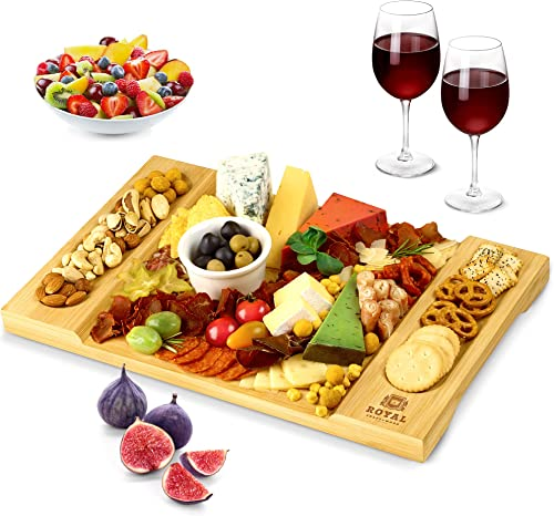 2021 Unique online sale Bamboo Cheese Board, Charcuterie Platter and Serving outlet online sale Tray for Wine, Crackers, Brie and Meat. Large and Thick Natural Wooden Server - Fancy House Warming Gift & Perfect Choice for Gourmets online