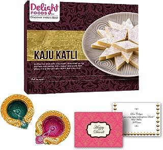 Delight Foods Indian Festive Diwali Gift Box - Premium Kaju Katli Sweet with Happy Diwali Greeting Card and Diwali Diyas for Diwali Decoration