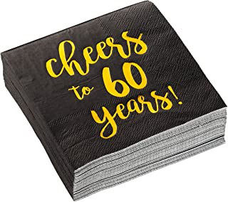 Birthday Party Cocktail Napkins - 50 Pack Gold Foil Cheers to 60 Years Disposable Paper Napkins, Perfect for 60th Birthday Party Supplies, Anniversary Decorations, 5 x 5 Inches Folded, Black