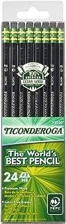 Ticonderoga Pencils, Wood-Cased, Graphite #2 HB Soft, Black, 24-Pack (13926)